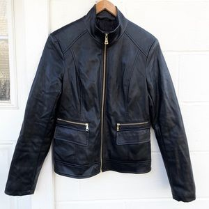 Cole Haan Faux Leather Moto Jacket Black Small